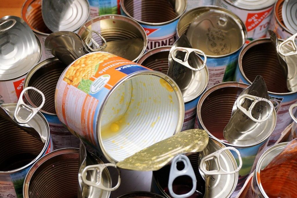 open tin cans of food