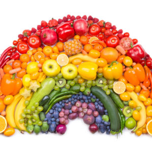 rainbow made out of fruit and vegetables