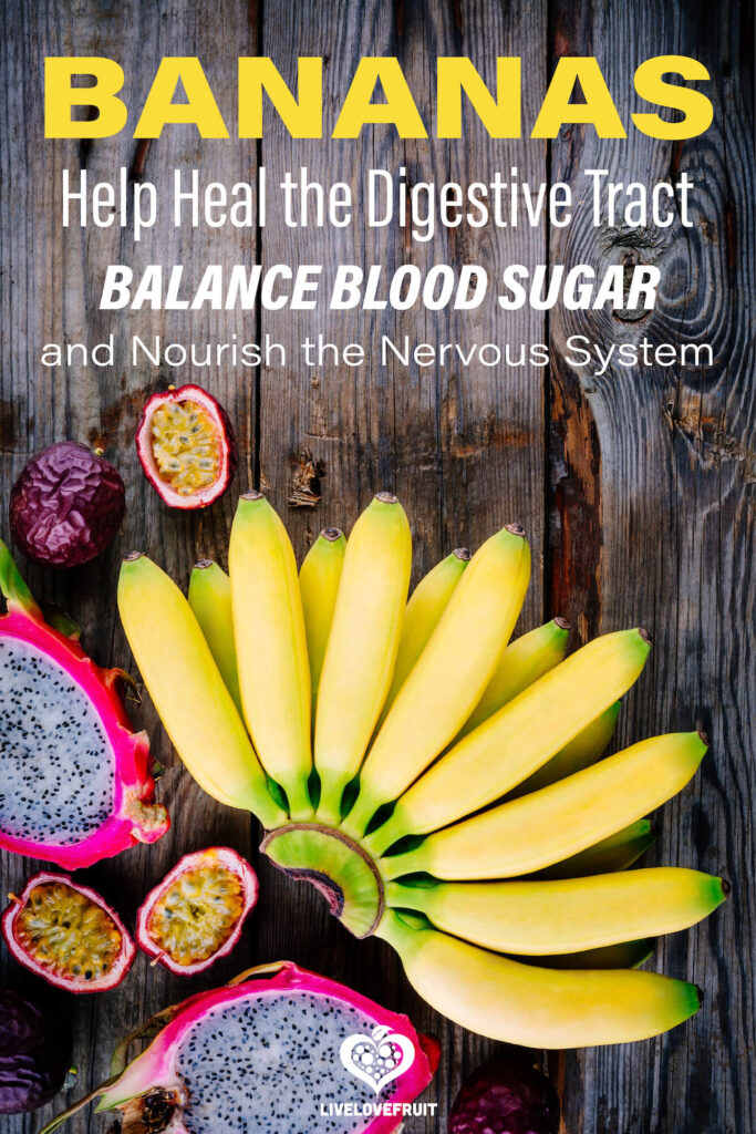 bananas on wooden background with dragon fruit and text - bananas help heal the digestive tract, balance blood sugar, and nourish the nervous system