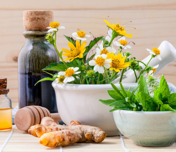 Alternative health care fresh herbal, honey and wild flower with mortar on wooden background.