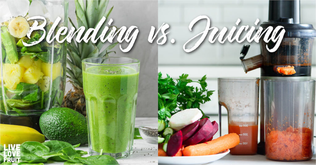 blender next to juicer with text - juicing vs. blending