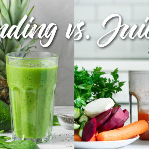 blender next to juicer with text - juicing vs. blending