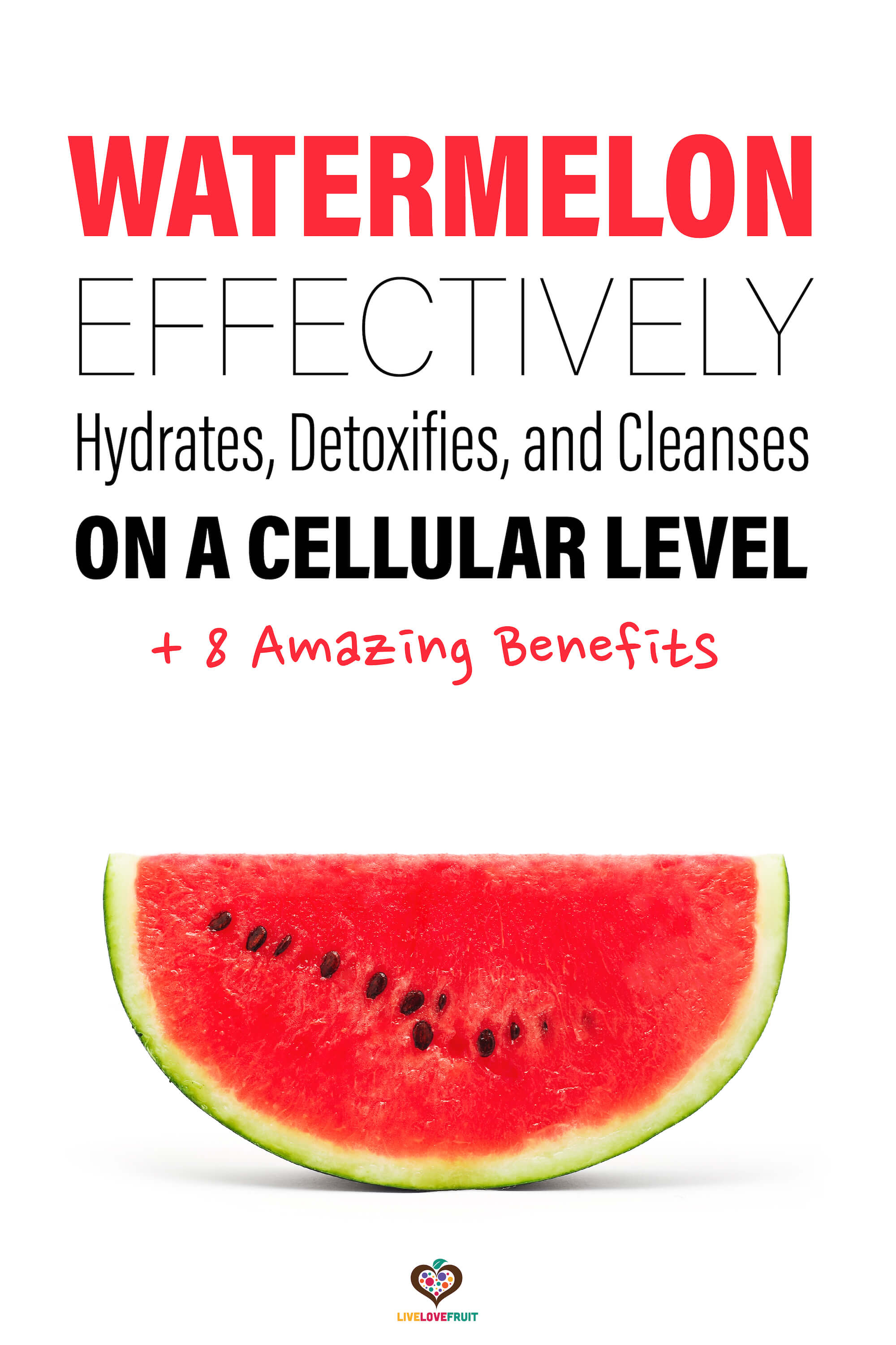 Watermelon on white background with text - watermelon effectively hydrates, detoxifies, and cleanses on a cellular level + 8 amazing benefits