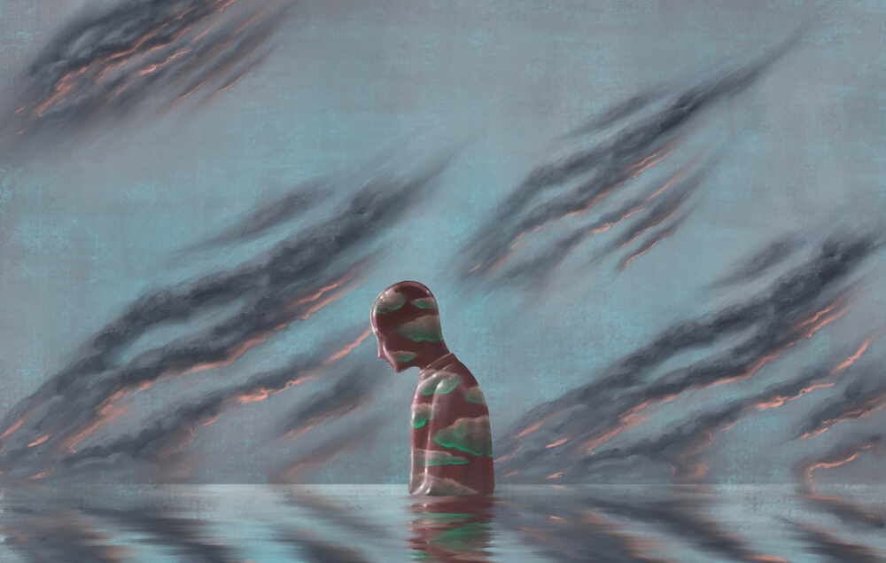 cloudy lonely man in water portraying negativity, anger, sadness, isolation