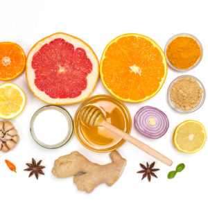 Healthy products for Immunity boosting. Citrus, ginger, honey, garlic, onions