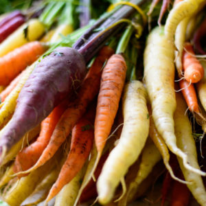 beautiful fresh market organic carrots in different colors, purple, white, orange red carrots