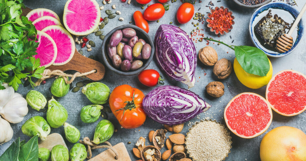 variety of raw foods on table