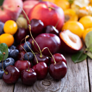 different varieties of stone fruit