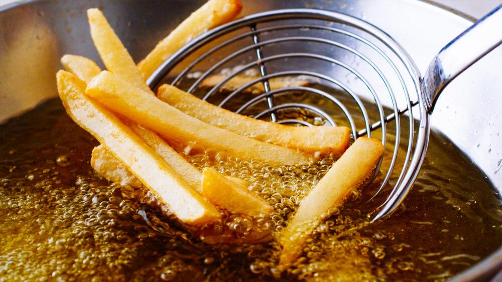 potatoes getting deep fried