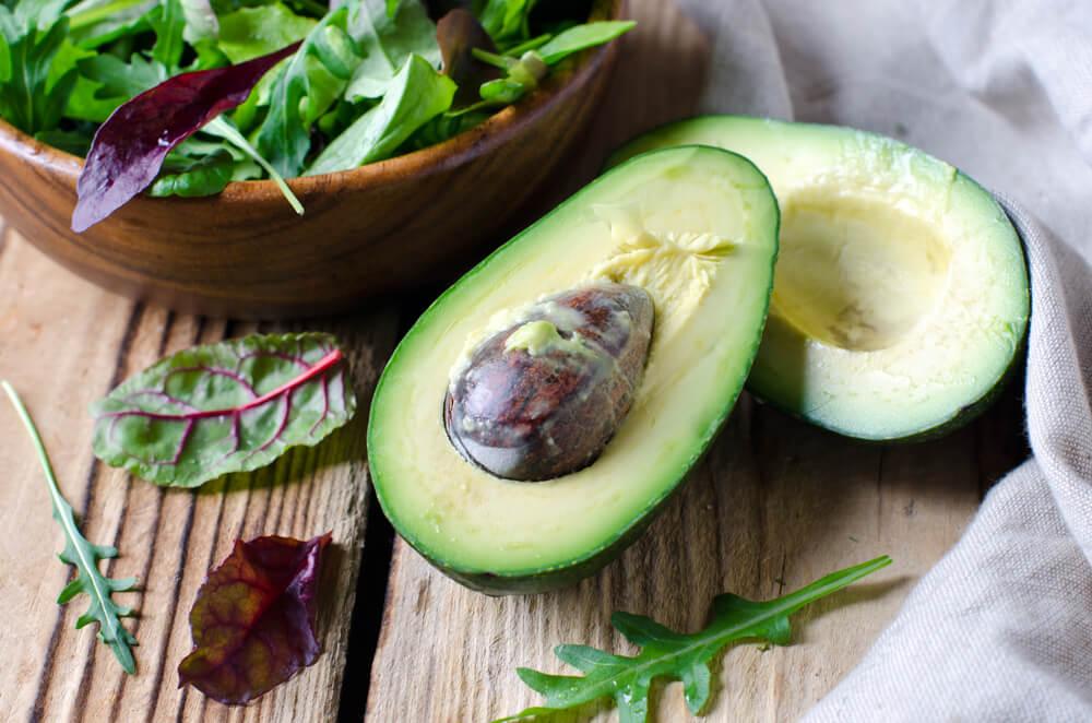 freshly cut avocado