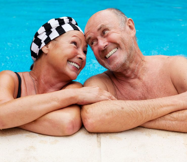 pool senior couple