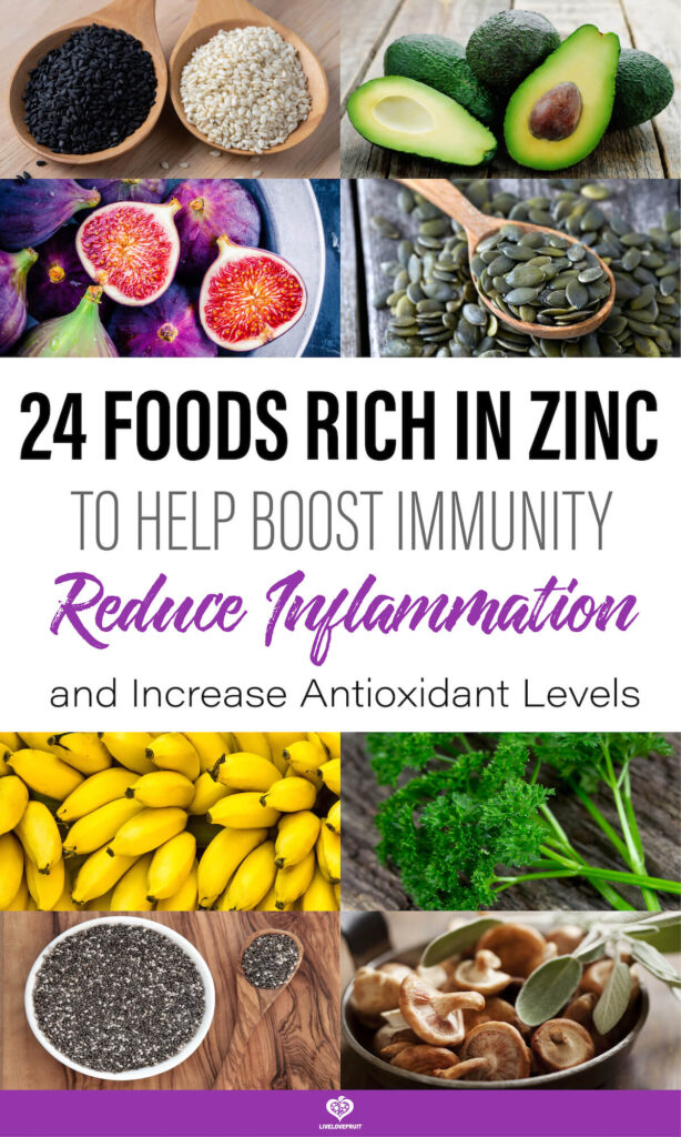 Different foods rich in zinc with text - 24 foods rich in zinc to help boost immunity, reduce inflammation, and increase antioxidant levels