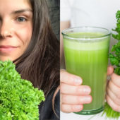 girl with bunch of parsley next to image of person holding freshly juiced parsley in a cup