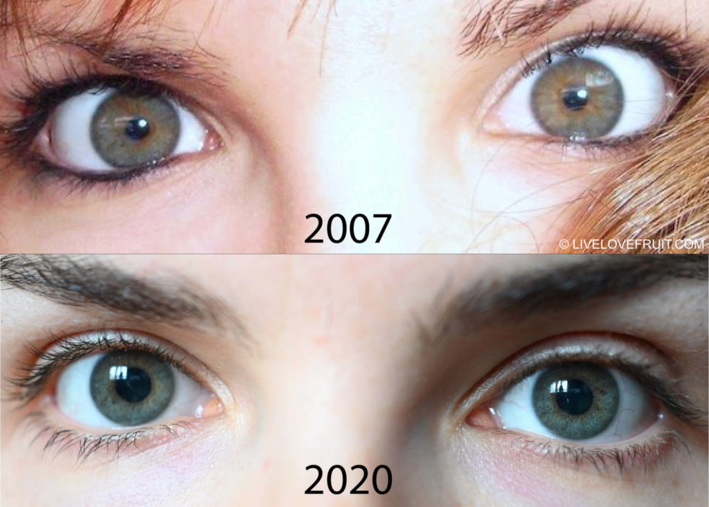 raw vegan eye color change in carly fraser before and after