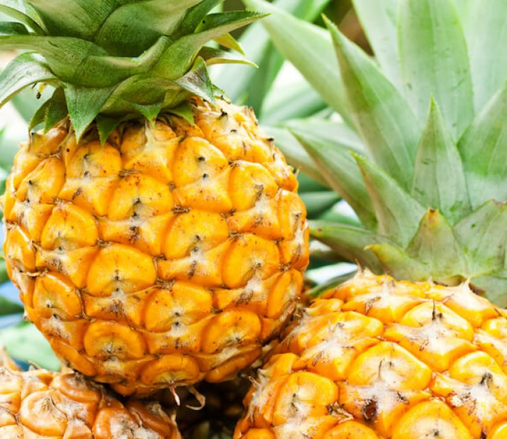 yellow pineapples in a bunch