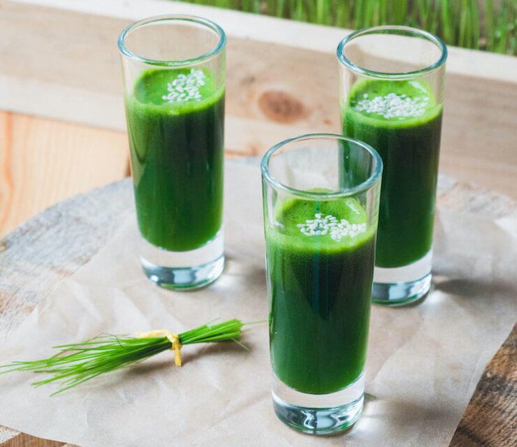 three shots of wheatgrass juice