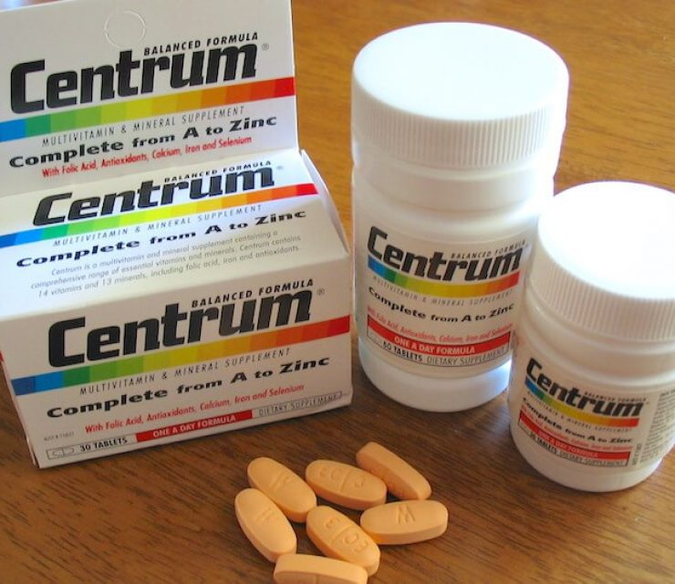 centrum multivitamin on table