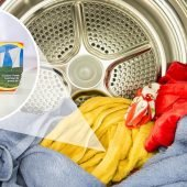 colourful clothes in dryer with bounce dryer sheet image overlay