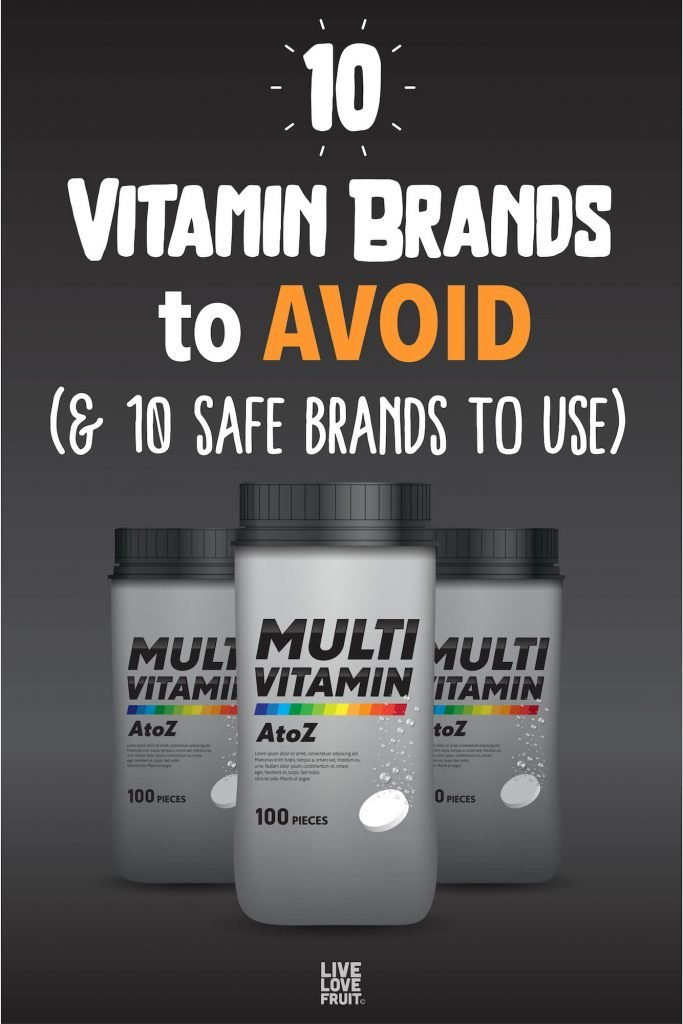 multivitamin bottles on dark background with text - 10 Vitamin Brands to Avoid (& 10 Safe Brands to Use)