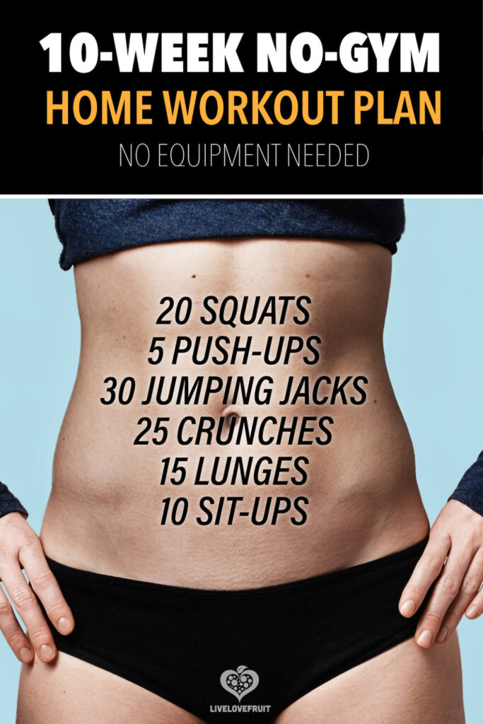 Young athletic woman hands on waist belly on blue background with text - 10-week no-gym home workout plan no equipment needed