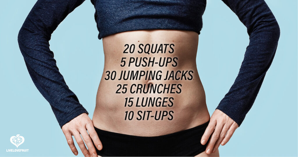 woman's fit body with different workout descriptions on stomach