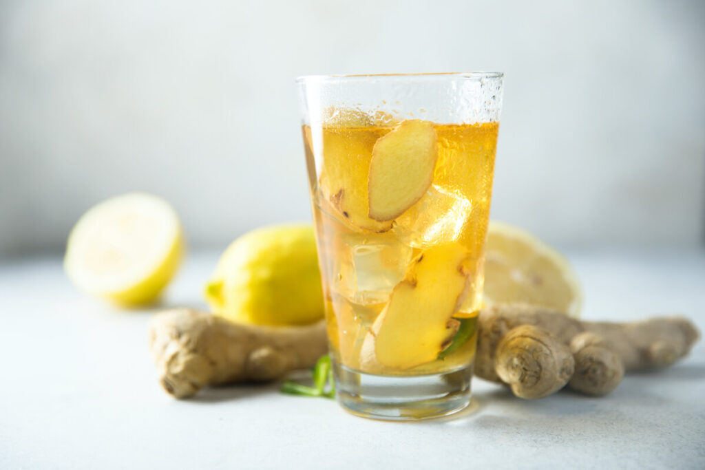 refreshing homemade gingerale with kombucha