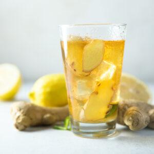 refreshing homemade gingerale with kombucha