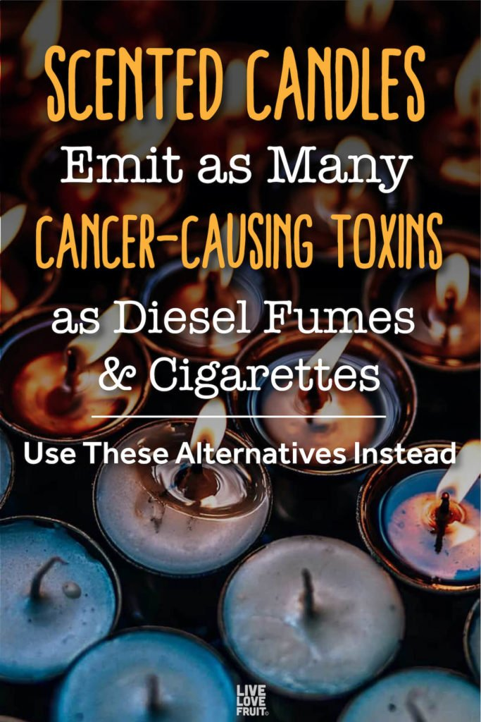 tea light candles with some lit, some not with text - scented candles emit as many cancer-causing toxins as diesel fumes & cigarettes: use these alternatives instead