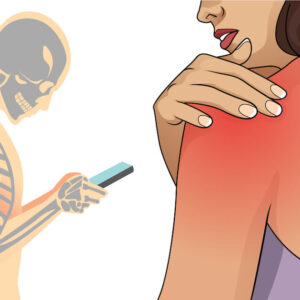 illustrated person with forward facing posture looking at phone and woman with shoulder pain