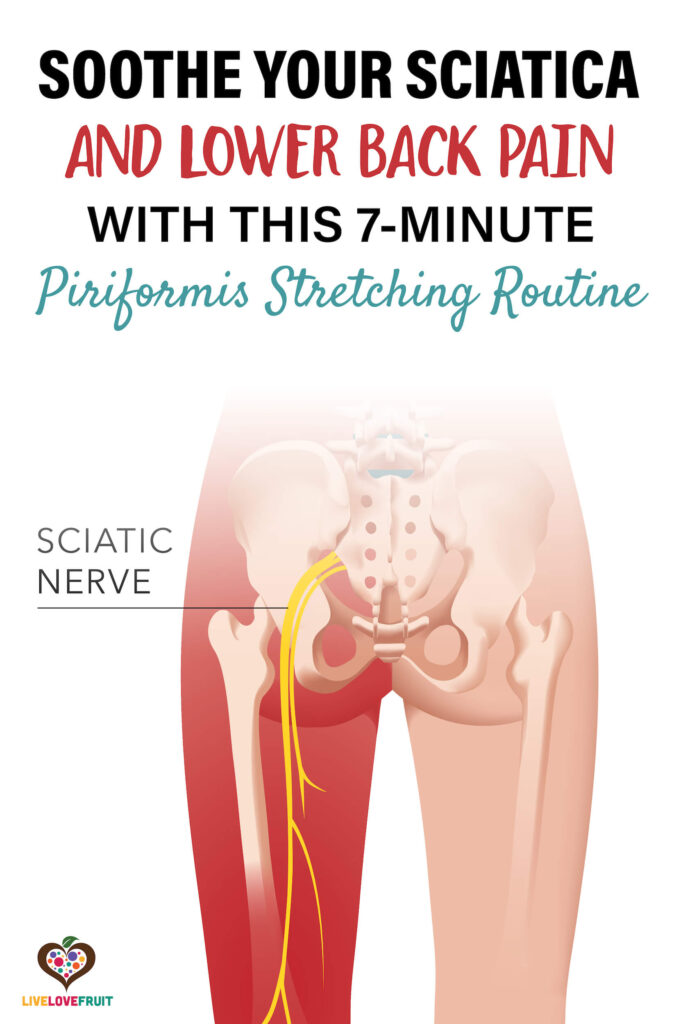 visual representation of sciatic nerve pain with text - soothe your sciatica and lower back pain with this 7-minute piriformis stretching routine