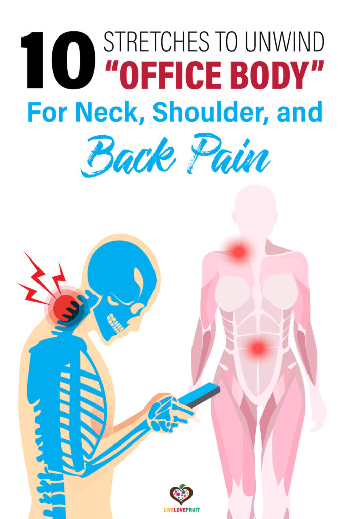 """illustration of person looking at phone with pain in neck next to body illustrating body pain with text - 10 stretches to unwind """"office body"""" for neck, shoulder, and back pain"""