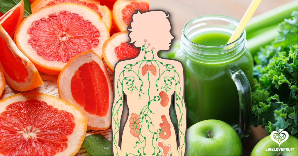 lymphatic booster green juice with grapefruit and lymphatic vessel illustration on top