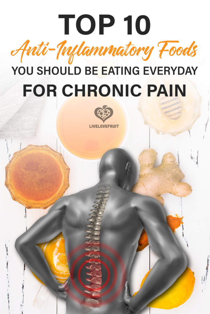 anti-inflammatory foods in background with illustration of guy with back pain with text - top 10 anti-inflammatory foods you should be eating everyday for chronic pain