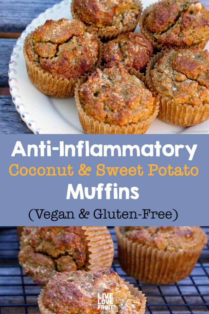 muffins on plate and cooling rack with text - Anti-inflammatory coconut & sweet potato muffins (vegan & gluten-free)