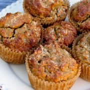 anti-inflammatory sweet potato muffins on white plate