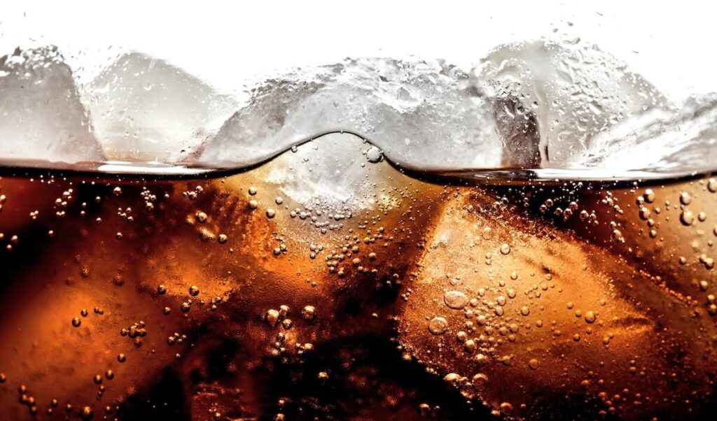 up close image of diet soda and ice