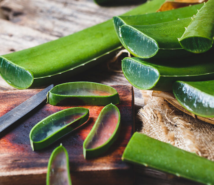 slices of aloe vera on wooden cutting board with knife
