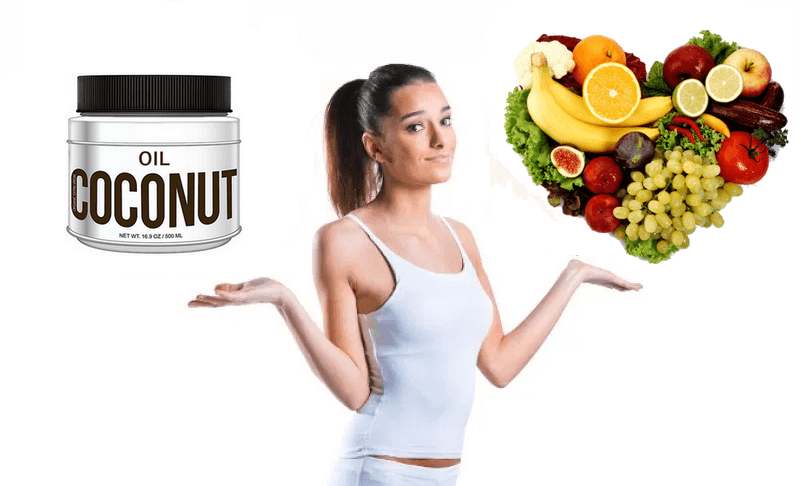 A lady showing weight loss tips by having coconut oil on right hand and fruits / veggies on left hand