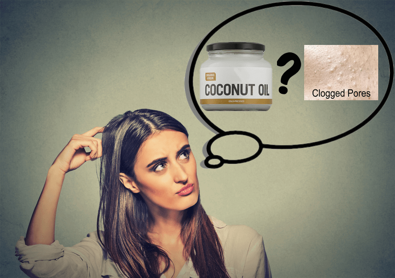 Lady thinking if coconut oil clogs pores