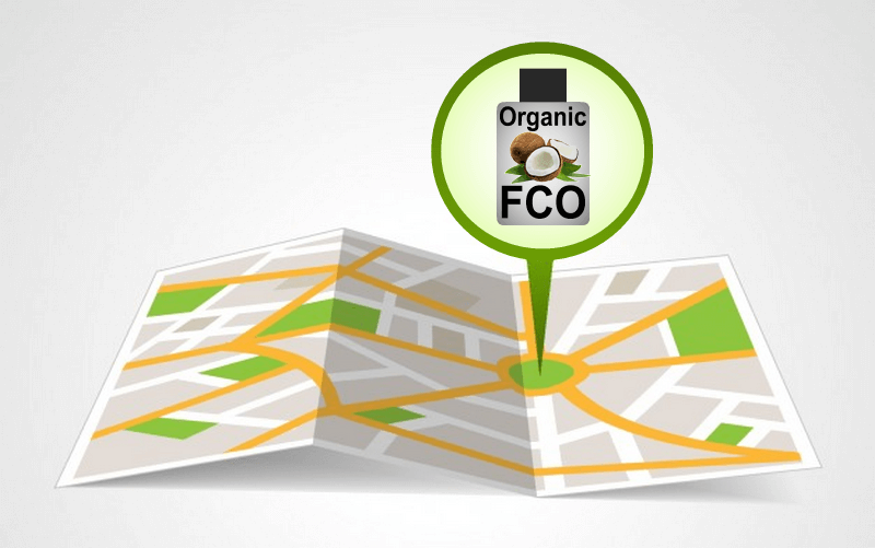 A map showing where we can buy organic fractionated coconut oil