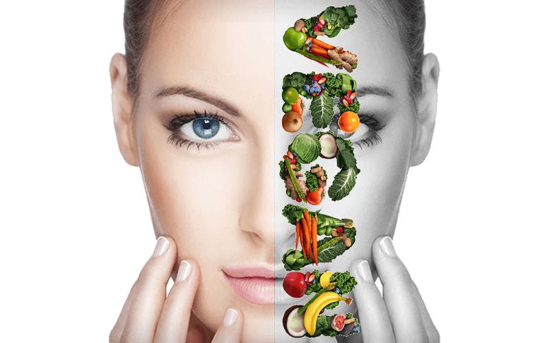 Female vegan with an acne-free skin