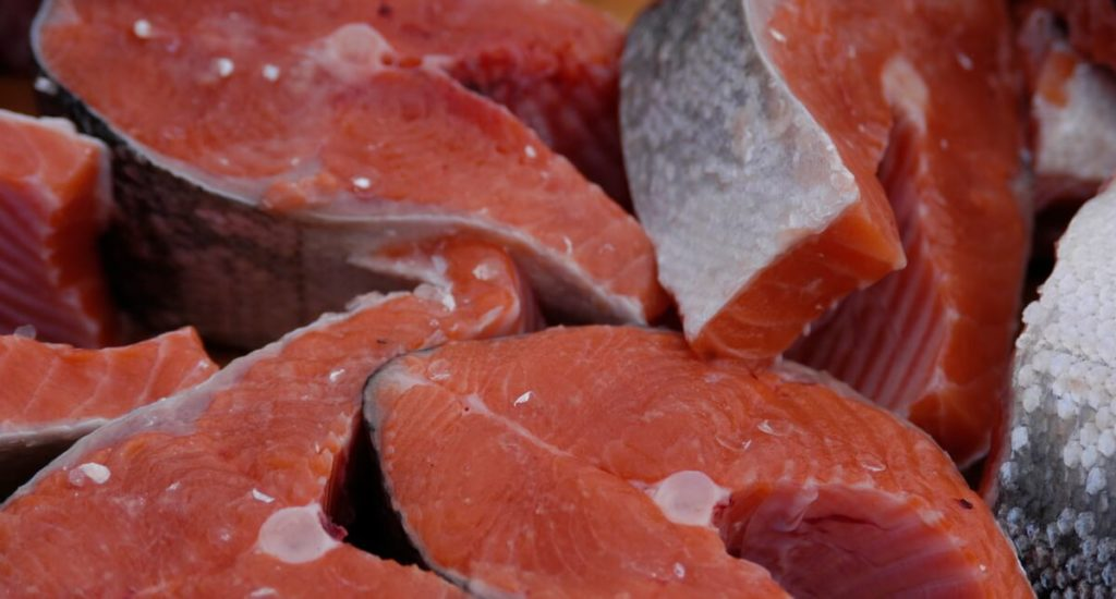 slices of fresh salmon