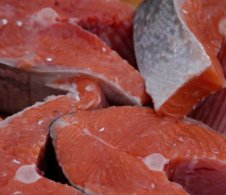 slices of fresh salmon