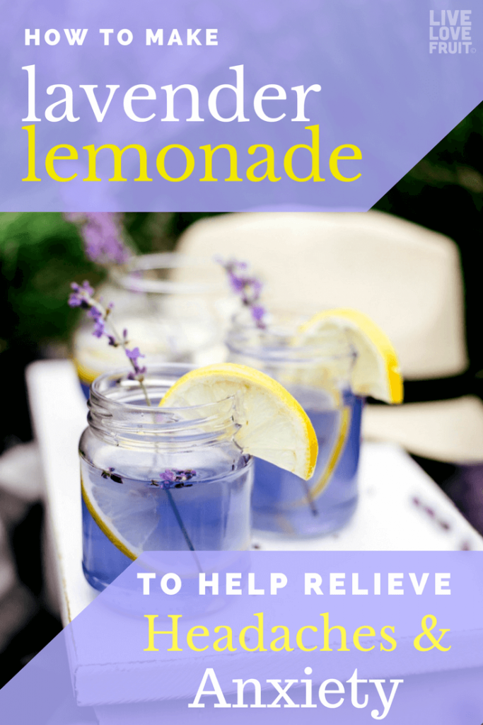 two glasses of lavender lemonade with lemon slices on white board with text - how to make lavender lemonade to help relieve headaches & anxiety.