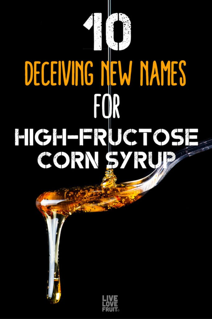 high fructose corn syrup being poured into spoon and dripping over with text - 10 deceiving new names for high-fructose corn syrup