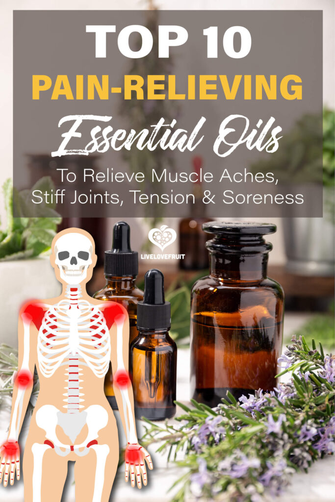 illustration of body with pain points on top of essential oil backdrop with text - top 10 pain-relieving essential oils to relieve muscle aches, stiff joints, tension and soreness