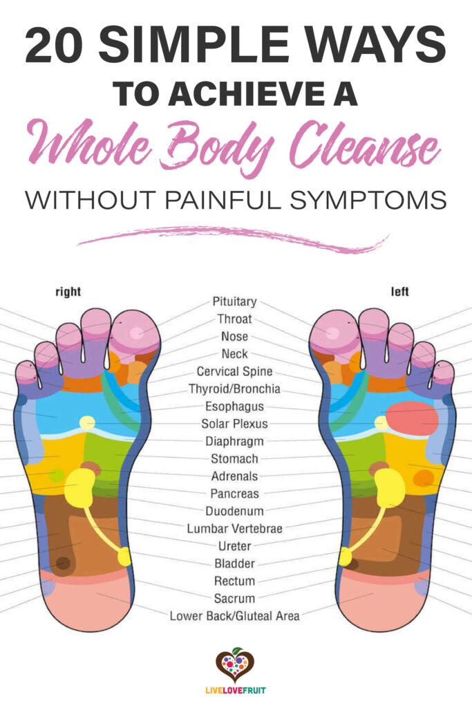 reflexology chart with text - 20 simple ways to achieve a whole-body cleanse without painful symptoms