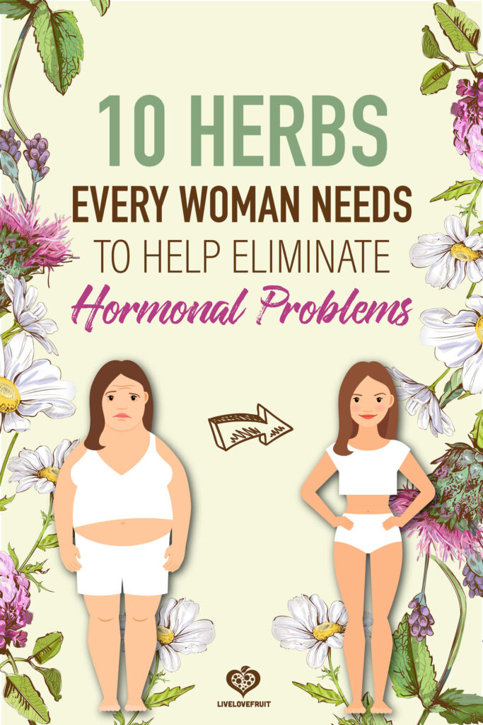illustrated herbs next to woman before and after losing weight with text - 10 herbs every woman needs to help eliminate hormonal problems