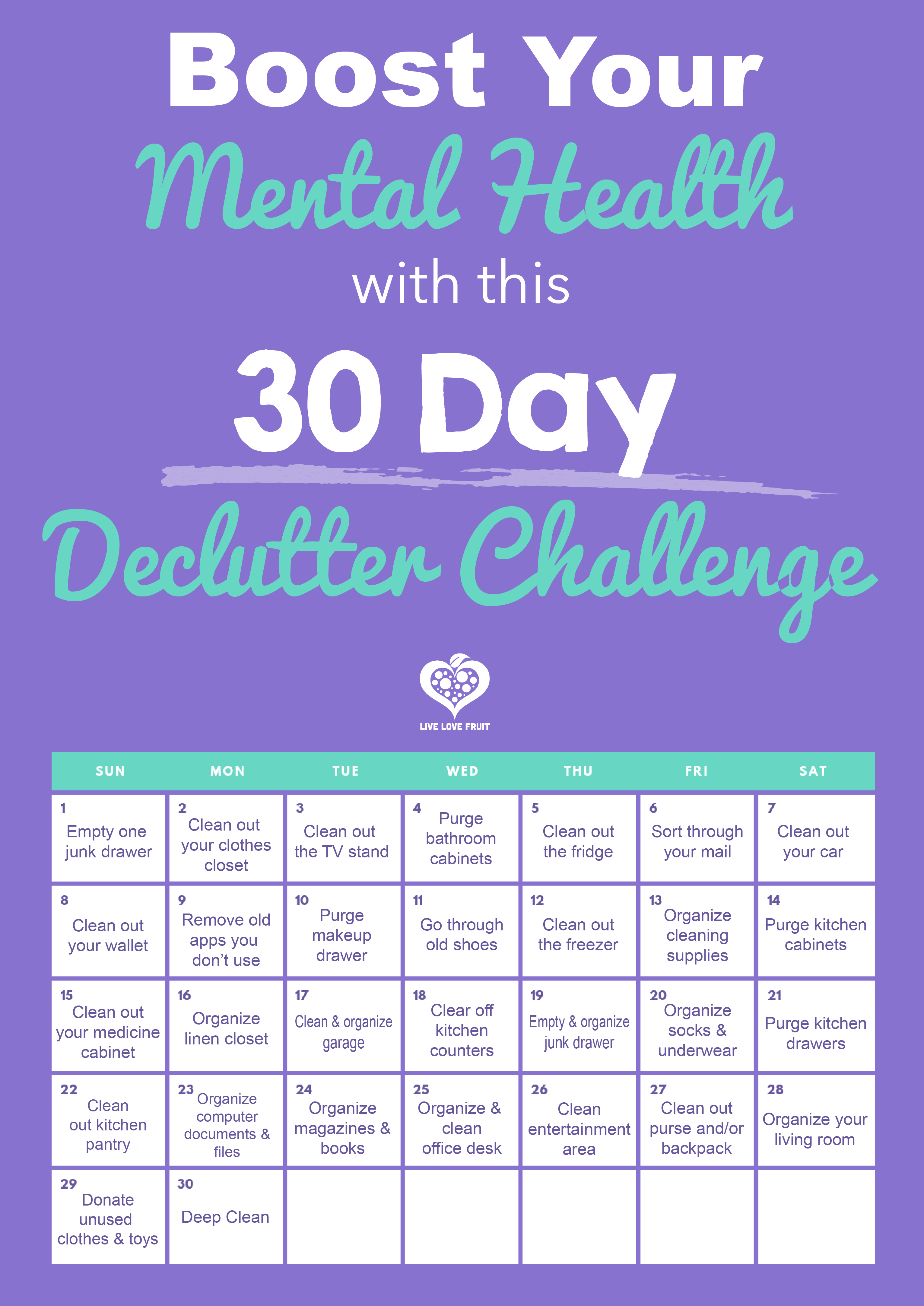 Being organized and clutter-free can help your life flow easier, and improve your mental health. Take this 30 day declutter challenge to help you do so.