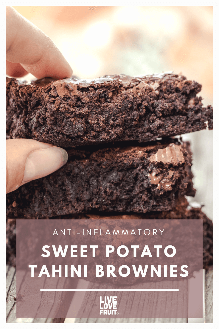 These anti-inflammatory sweet potato tahini brownies are an easy, one-bowl recipe that turn out super moist and delicious. Here's the recipe!